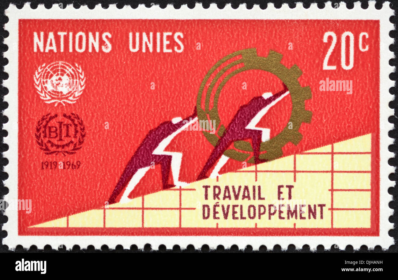 postage stamp United Nations 20c featuring 50th Anniversary of Labour and Development 1919 - 1969 dated 1969 - Stock Image