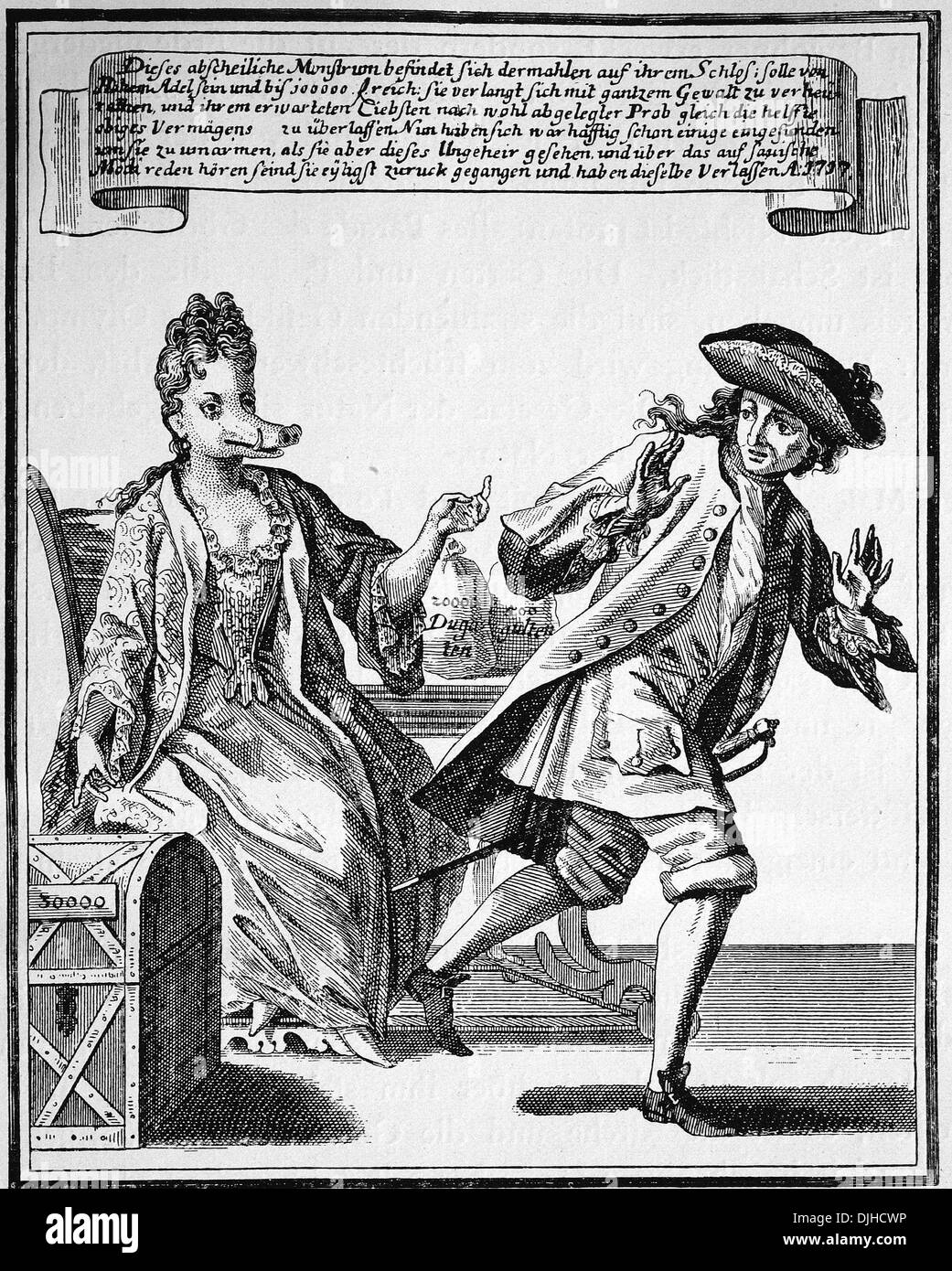 Satirical pamphlet on a rich but ugly woman eager to get married, 1717 Stock Photo