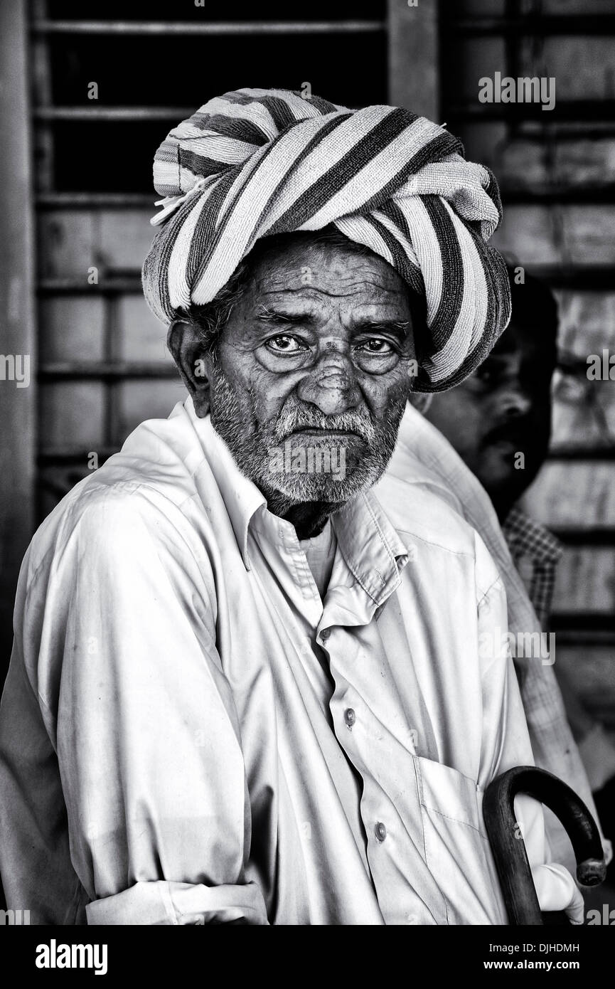 Old poor indian village man andhra pradesh india black and white stock