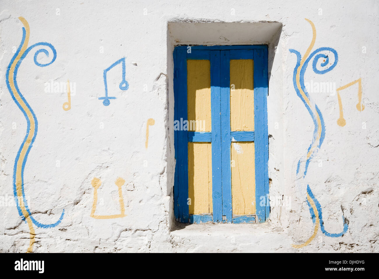 Colorful window on the island of Rhodos - Greece - Stock Image