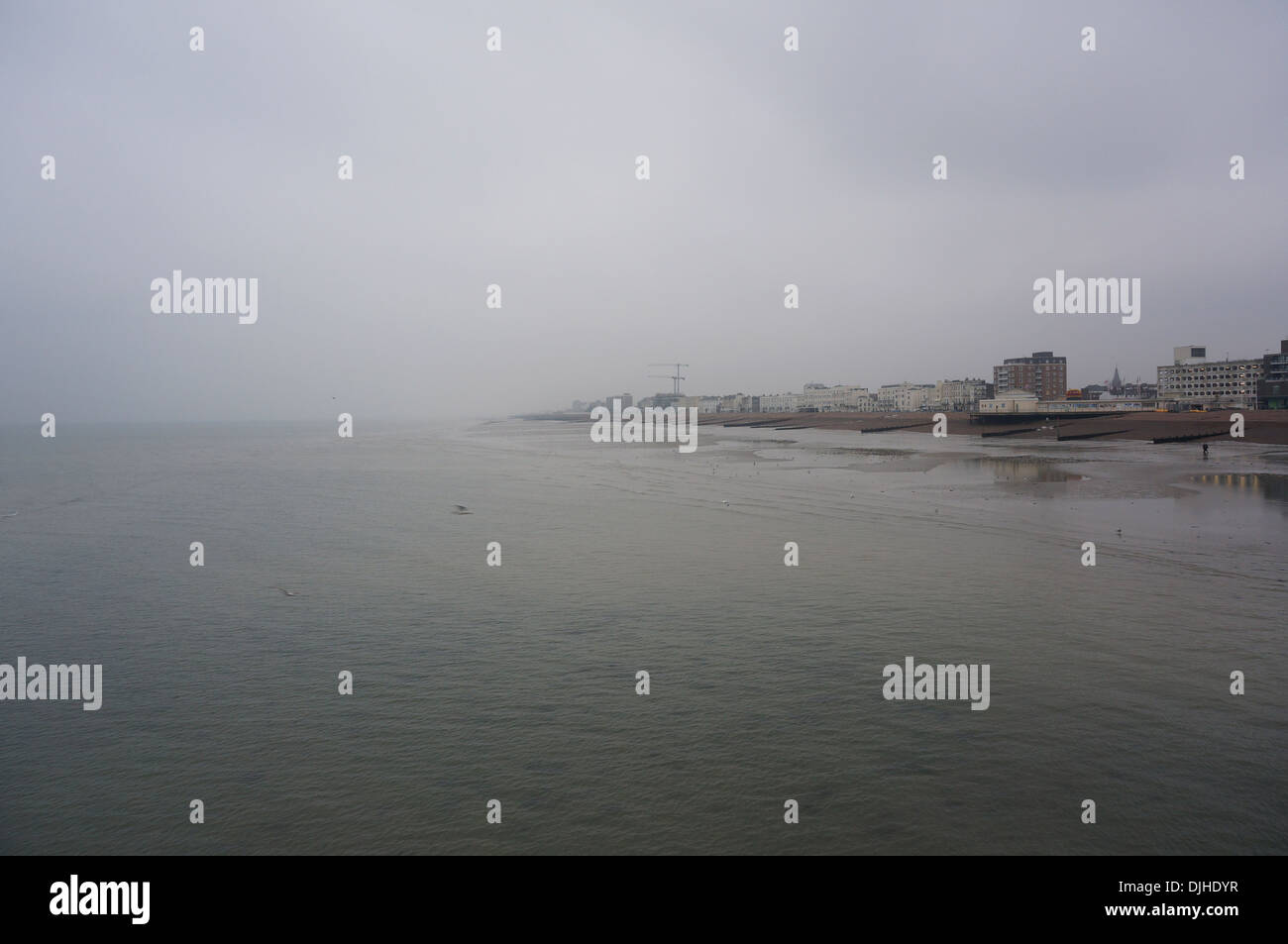 Foggy overcast day in Worthing, West Sussex, UK - Stock Image