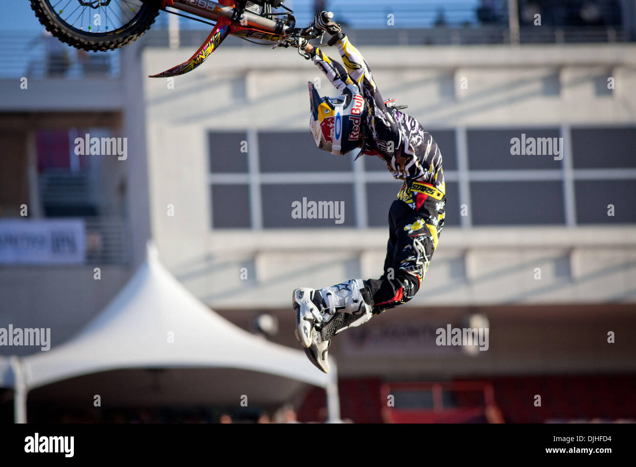 July 29, 2010 - Los Angeles, CA, United States of America - 28 July 2010:  Levi Sherwood's style and huge airs earned him a silver medal in mens Moto X Freestyle at the X Games in Los Angeles, CA.  Mandatory Credit: Josh Chapel / Southcreek Global (Credit Image: © Southcreek Global/ZUMApress.com) - Stock Image