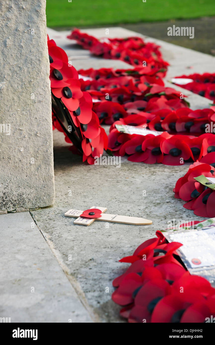 Poppy wreaths on the war memorial York North Yorkshire England UK United Kingdom GB Great Britain - Stock Image