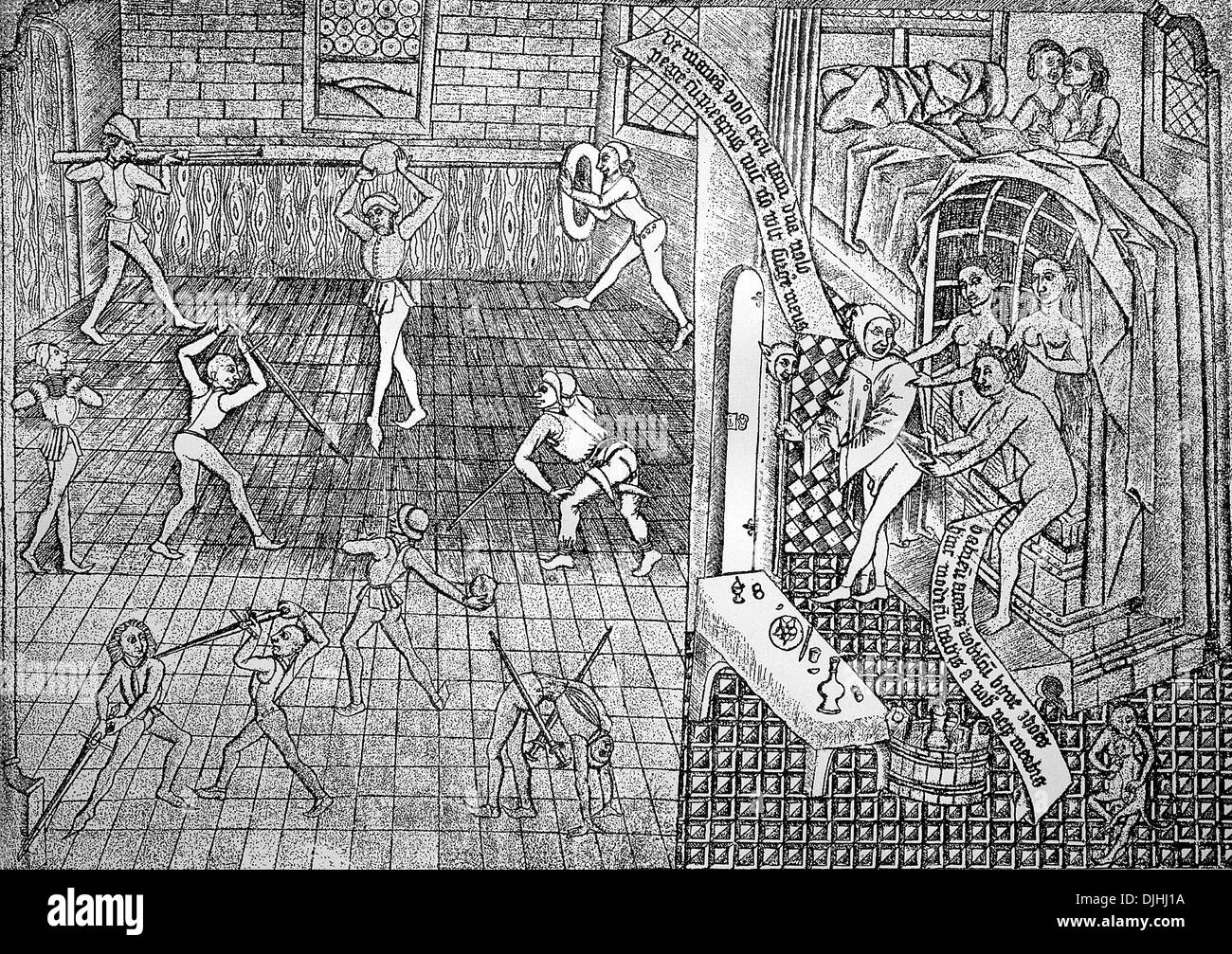 Fencing and a house of prostitution, 15th century - Stock Image