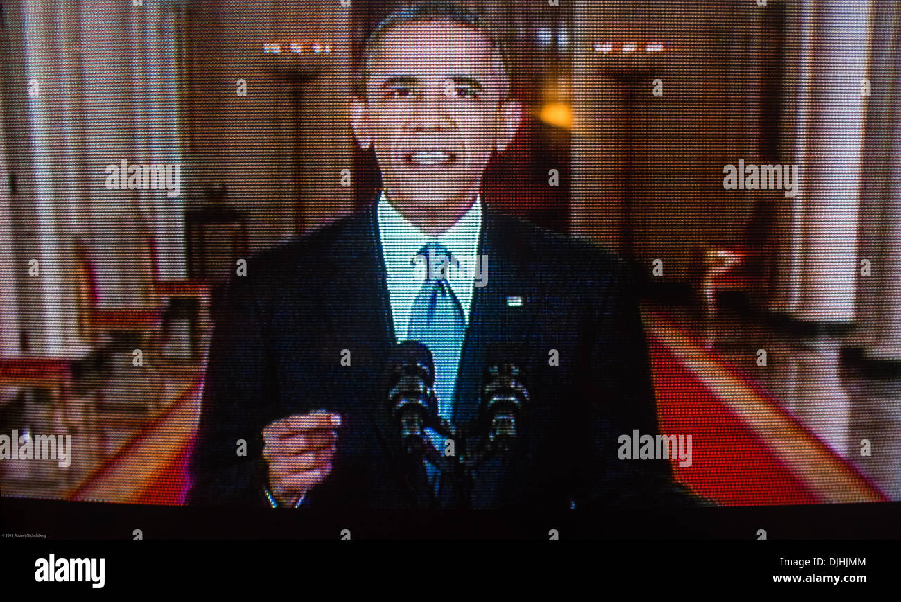 A picture of United States President Barack Obama taken during a White House television speech to the nation. - Stock Image