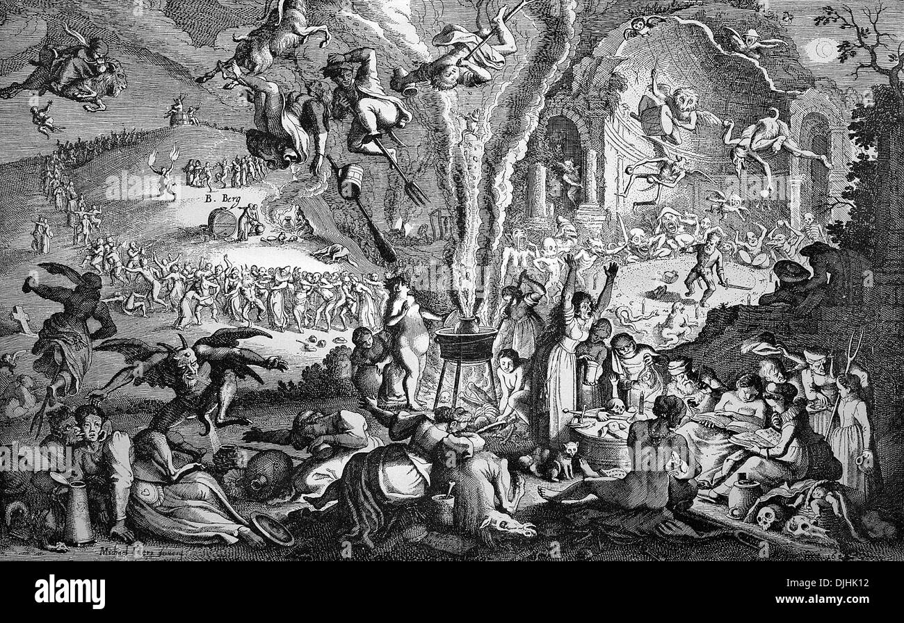 The witches' sabbath on Walpurgis Night on Blocksberg mountain, also known as Brocken mountain, German copper engraving, 17th ce - Stock Image