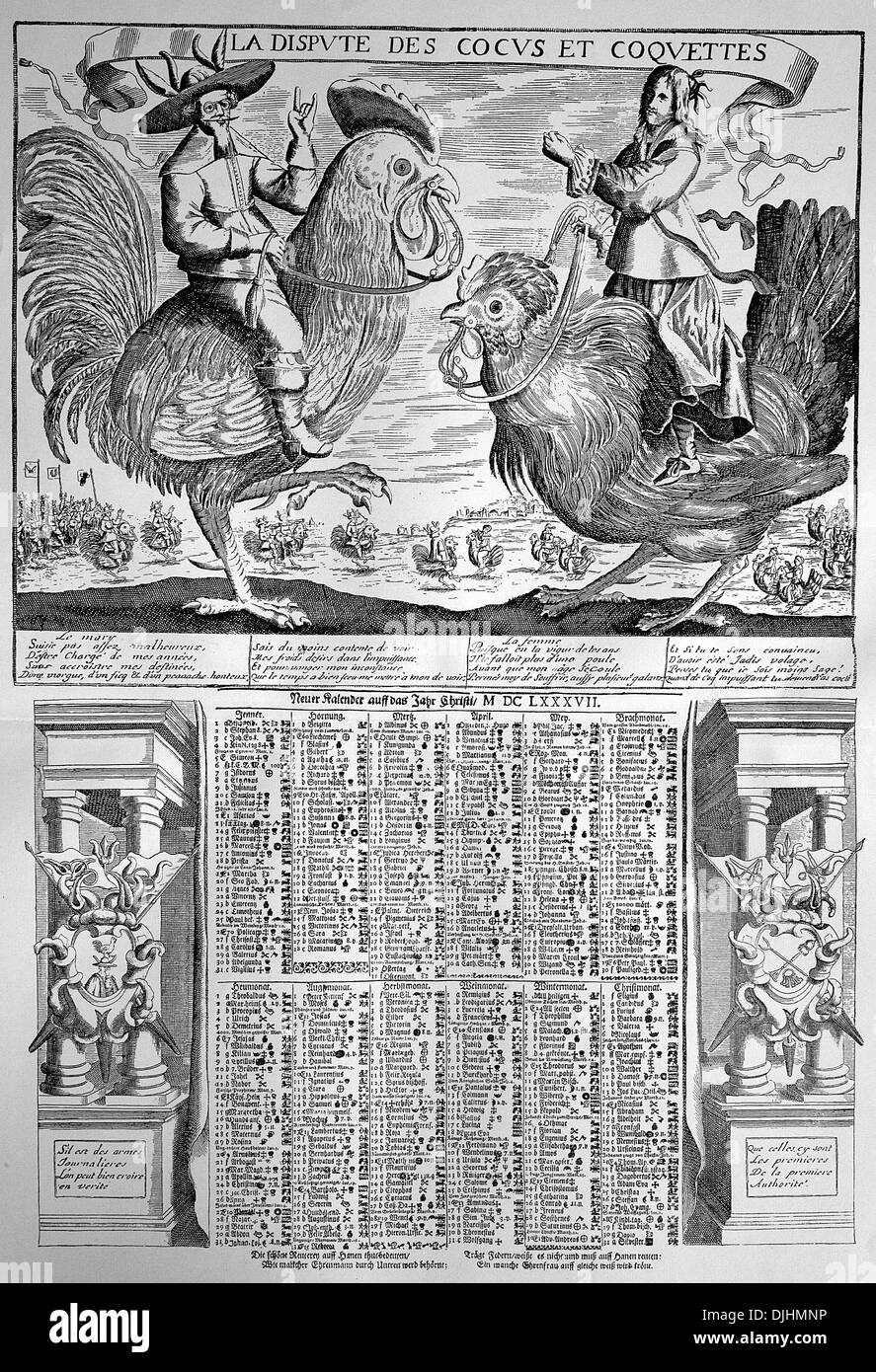 The calendar of the cornuted men, 17th century - Stock Image