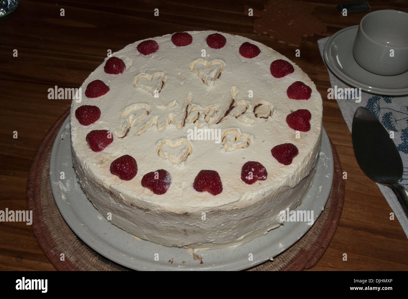 Home Made Cakes With Decorative Elements Ein Selbstgebackener Stock