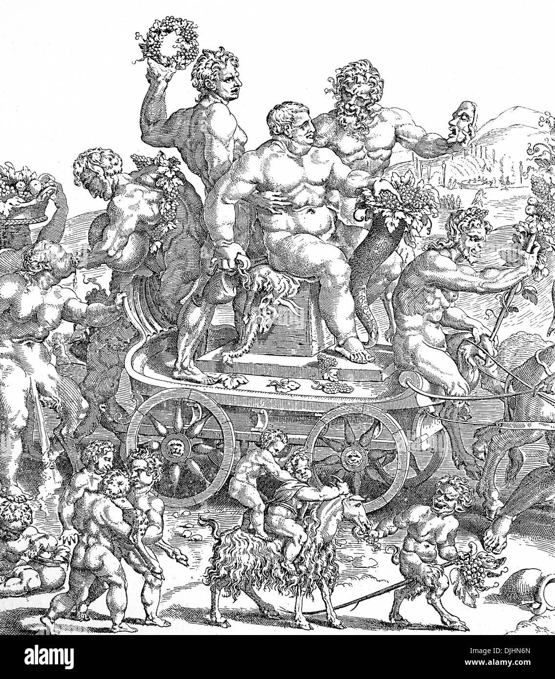 The procession of Bacchus, Italian copper engraving, 18th century Stock Photo