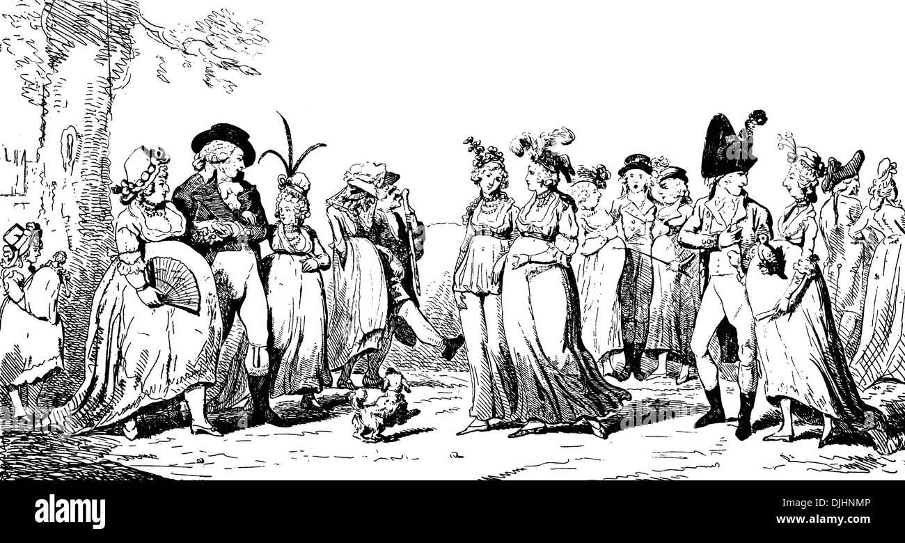 English caricature on fake pregnancy in fashion by Isac Cruikshank, around 1796 - Stock Image