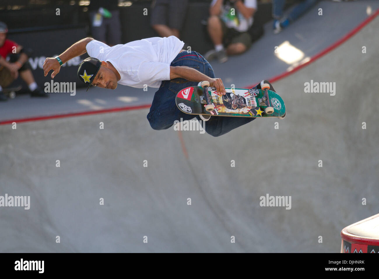 Aug. 01, 2010 - Los Angeles, CA, United States of America - 1 August 2010:  Omar Hassan airs over the gap in Skateboard Park at the X Games in Los Angeles, CA.  Mandatory Credit: Josh Chapel / Southcreek Global (Credit Image: © Southcreek Global/ZUMApress.com) - Stock Image