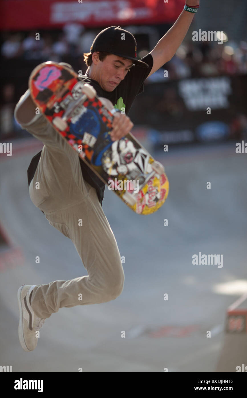 Aug. 01, 2010 - Los Angeles, CA, United States of America - 1 August 2010:  Pedro Barros won the gold in Skateboard Park at the X Games with big airs and smooth transitions.  Mandatory Credit: Josh Chapel / Southcreek Global (Credit Image: © Southcreek Global/ZUMApress.com) - Stock Image