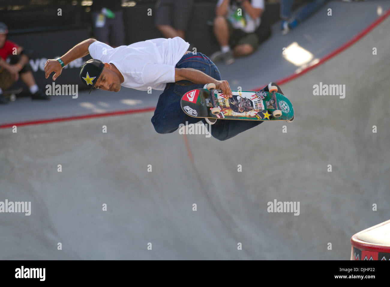 Aug. 01, 2010 - Los Angeles, CA, U.S - 1 August 2010:  Omar Hassan airs over the gap in Skateboard Park at the X Games in Los Angeles, CA. (Credit Image: © Josh Chapel/Southcreek Global/ZUMApress.com) - Stock Image