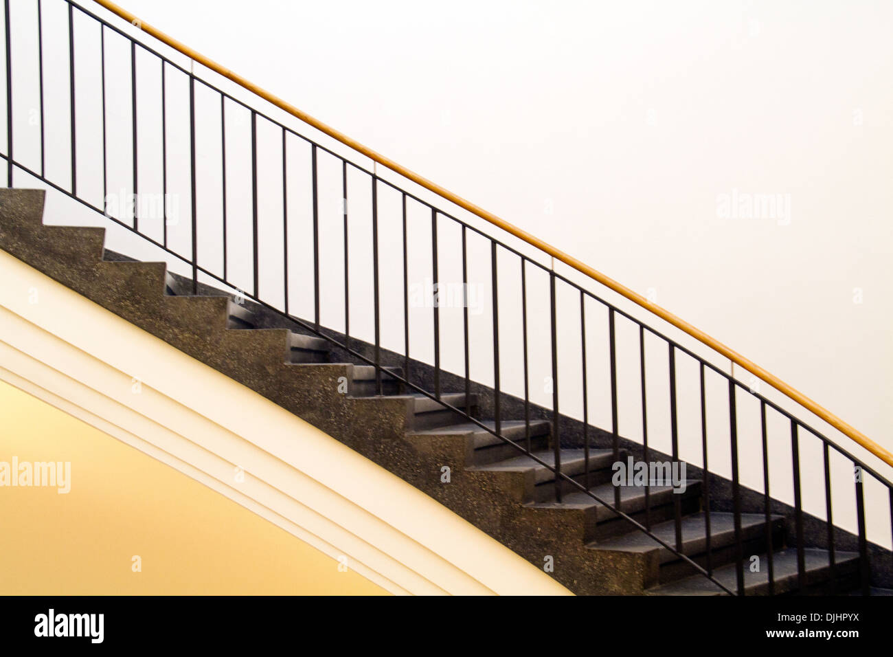 Black marble stairways and bannister - Stock Image