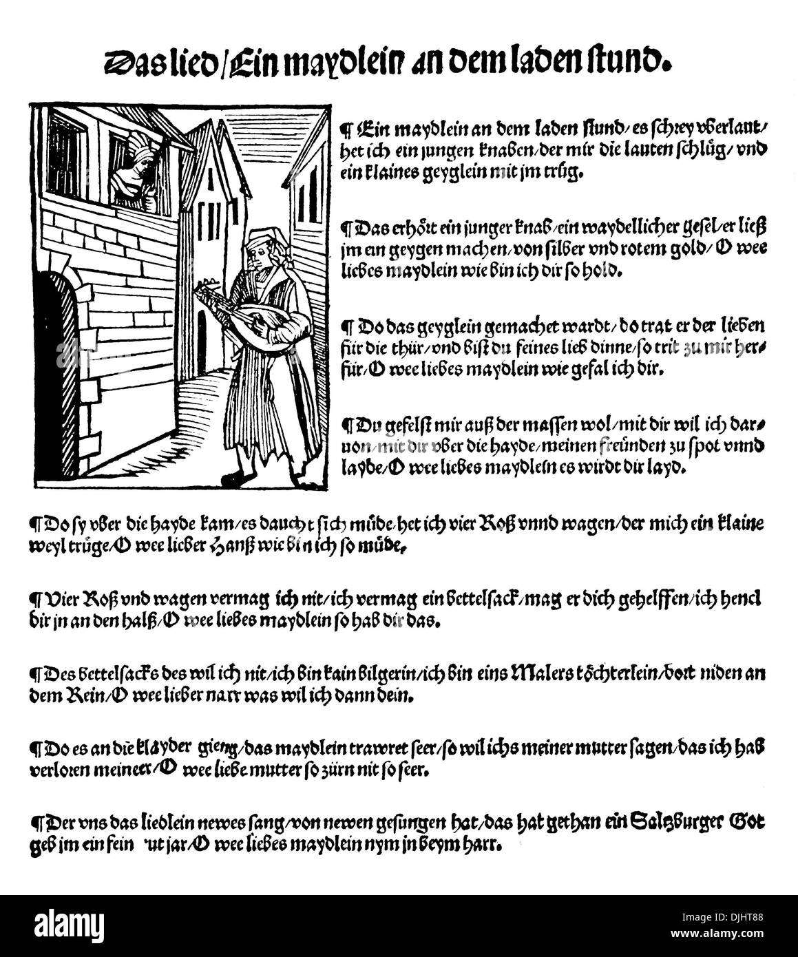 Folk song, pamphlet, 16th Century - Stock Image