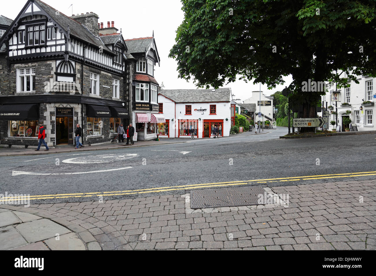 Junction of Lake Road (L), Rayrigg Road (Centre) and Crag Brow (R), Bowness-On-Windermere, Lake District, Cumbria, England, UK - Stock Image