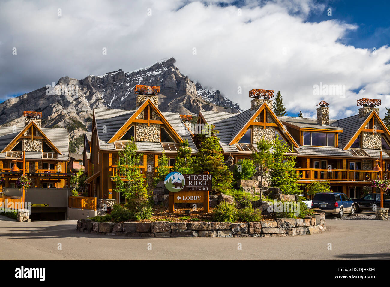 The Hidden Ridge Resort on Tunnel Mountain in Banff, Banff National Park, Alberta, Canada. - Stock Image