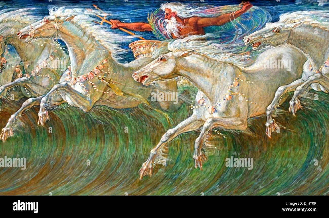 Neptune's Horses 1892  Walter Crane 1845-1915 English England United Kingdom ( Neptune Roman god of freshwater - Stock Image