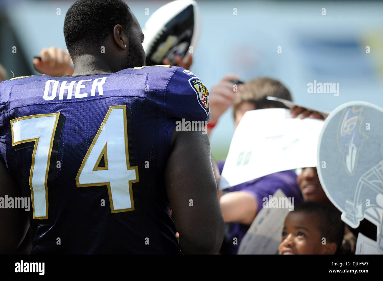 04 August 2010: Baltimore Ravens offensive tackle Michael Oher (74
