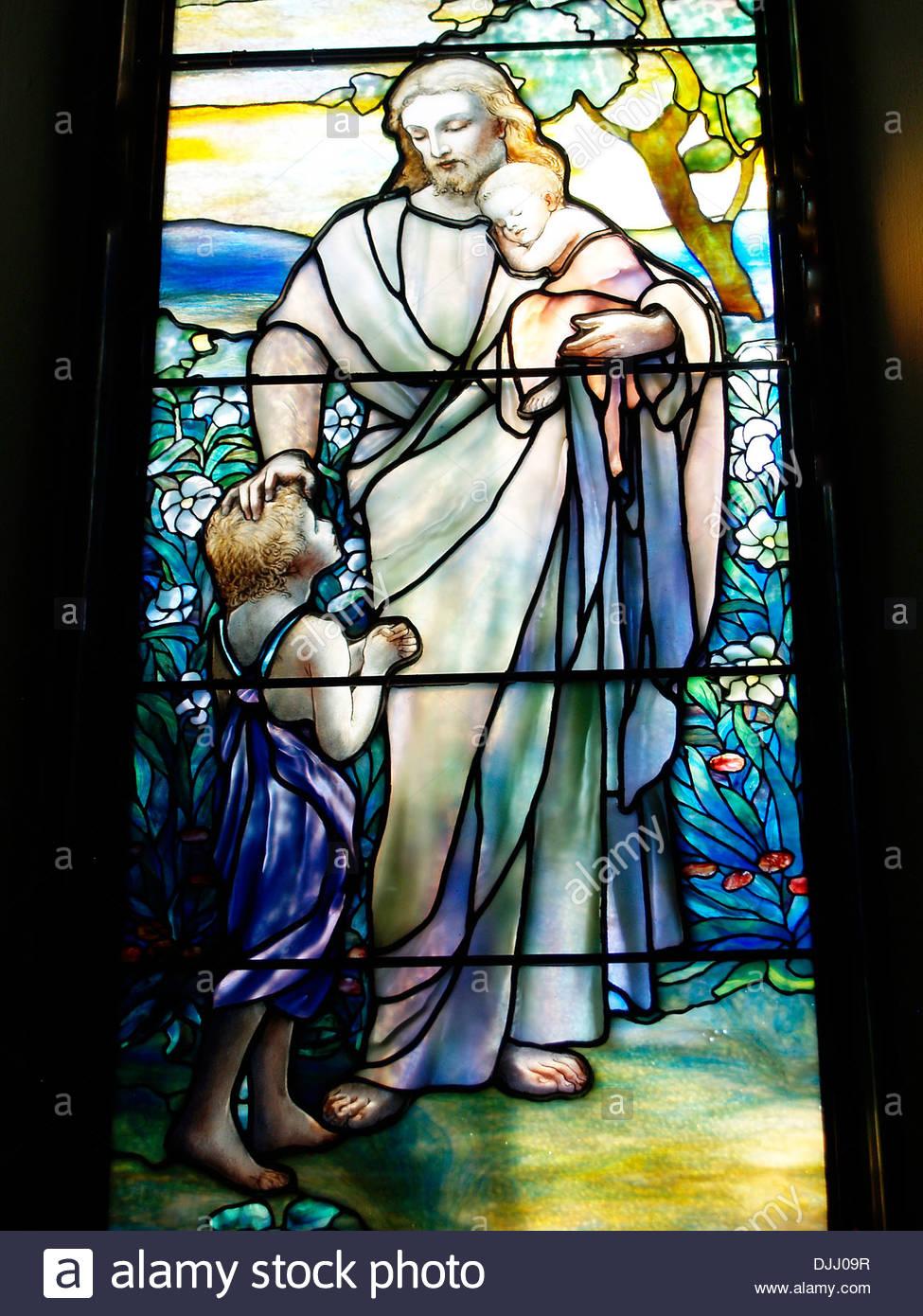 Tiffany stain glass window,St.John's Episcopal Church,Franklin,Pennsylvania - Stock Image
