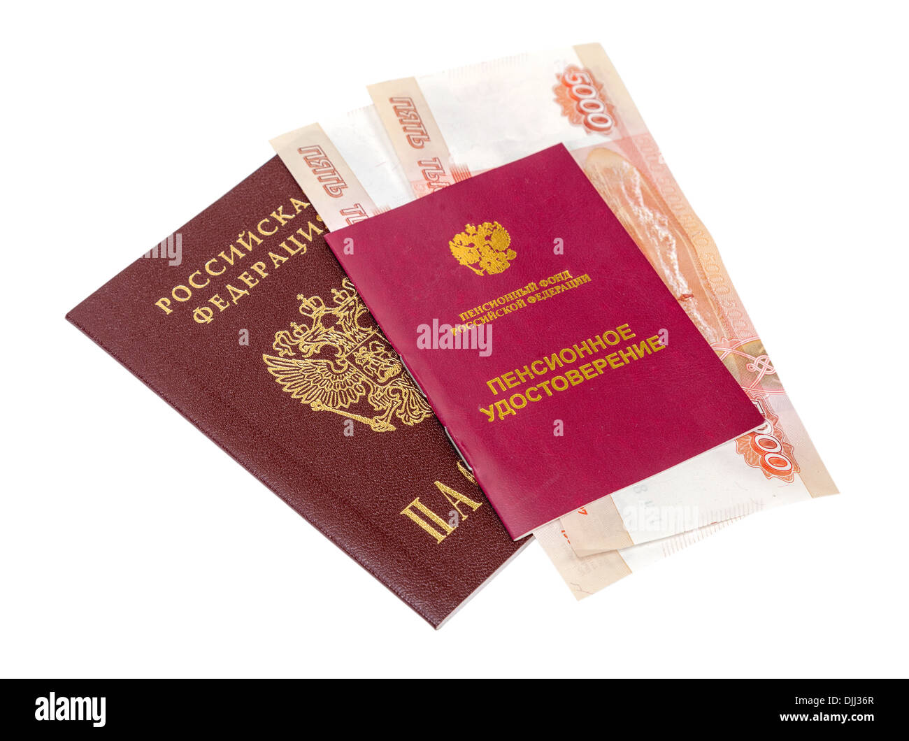 Russian Pension Certificate and Passport isolated on white background - Stock Image