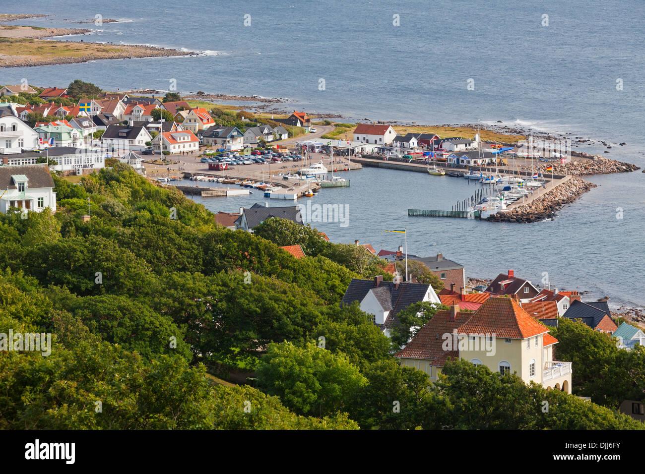 View over the harbour at Mölle in the Kattegat Strait, Skåne / Scania, Sweden, Scandinavia - Stock Image