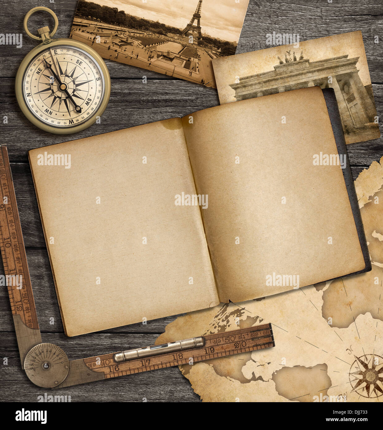 adventure nautical background with vintage map, copybook and compass - Stock Image