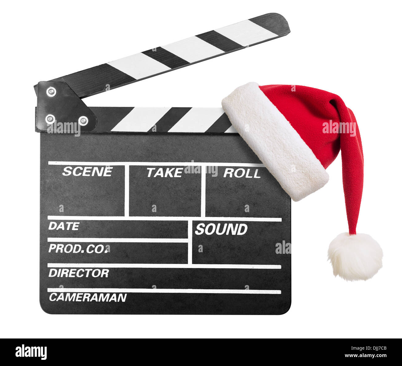 Clapper board with Santa's hat isolate - Stock Image