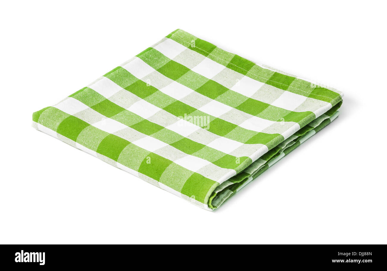green picnic tablecloth isolated - Stock Image