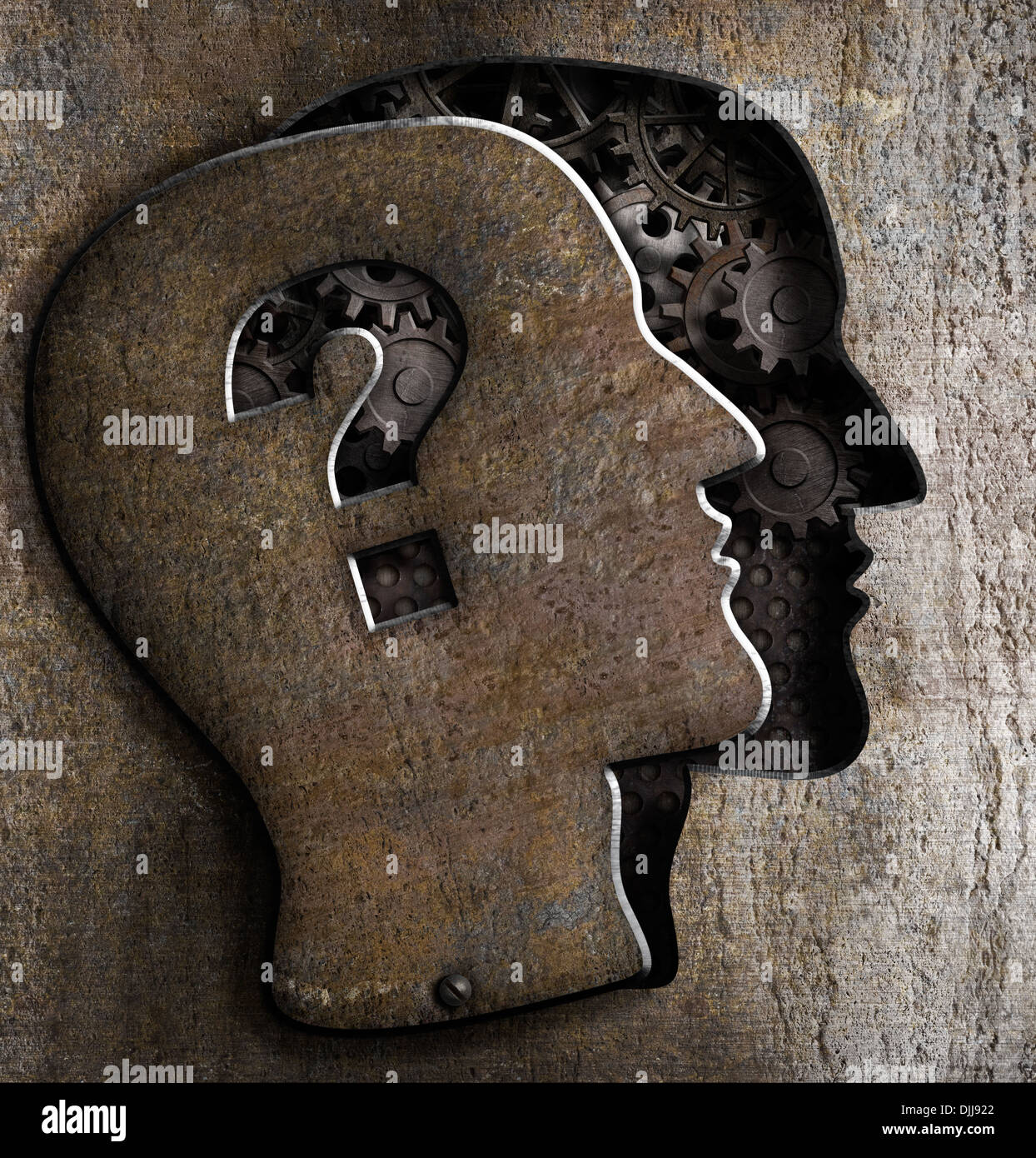 Human brain open with question mark on metal lid - Stock Image