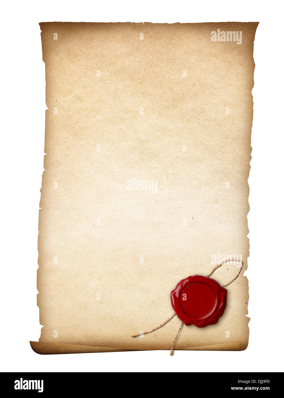 parchment or old paper with wax seal isolated - Stock Image