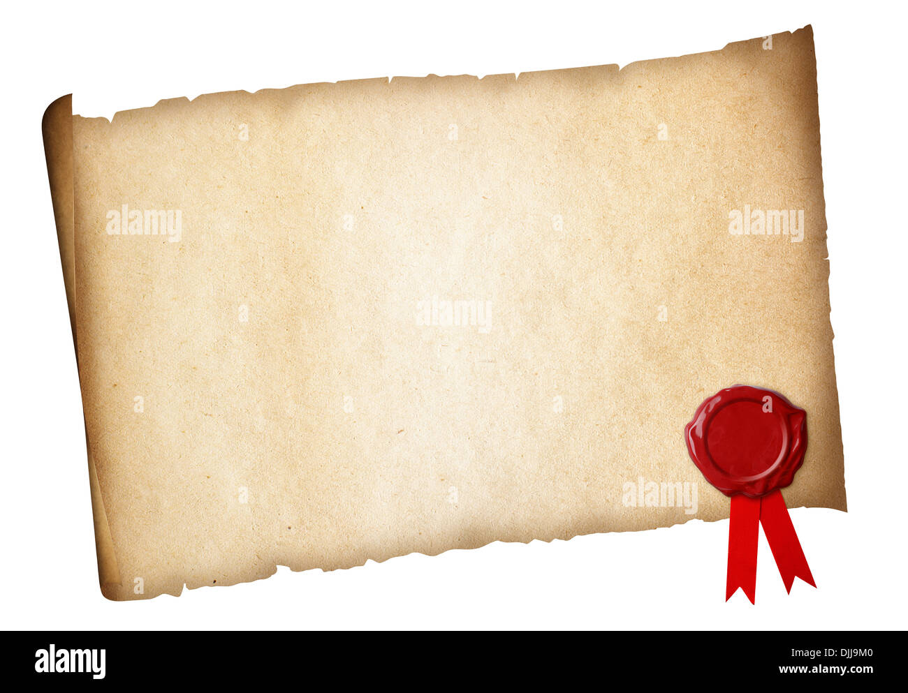 Old paper diploma or certificate parchment with wax seal isolated - Stock Image
