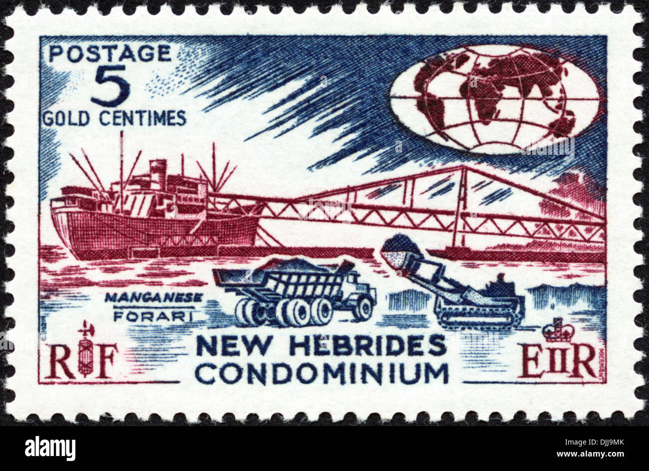 postage stamp New Hebrides Condominium 5c featuring Manganese Forari issued 1966Stock Photo