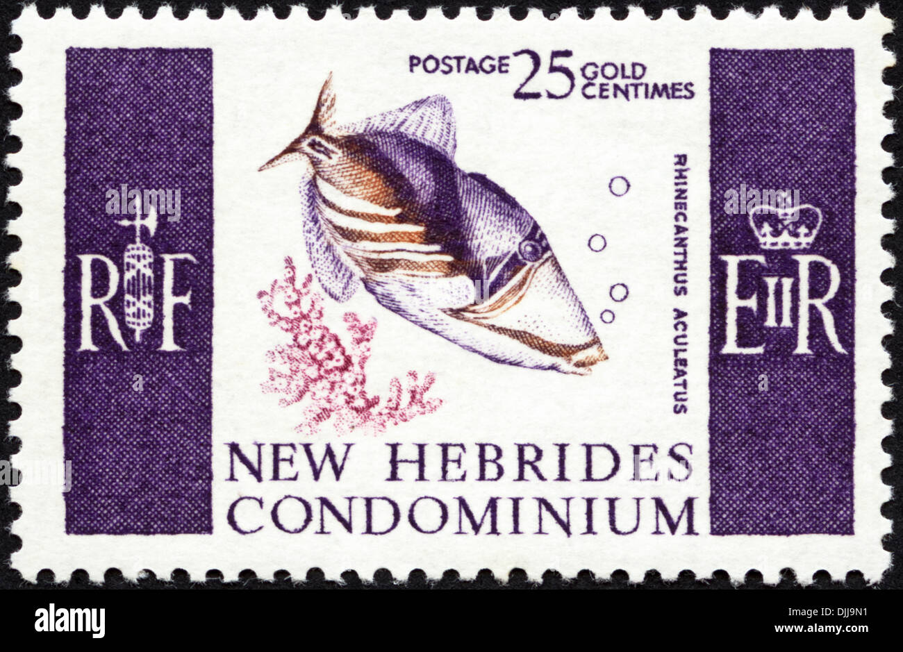 postage stamp New Hebrides Condominium 25c featuring Rhinecanthus Aculeatus issued 1966 - Stock Image