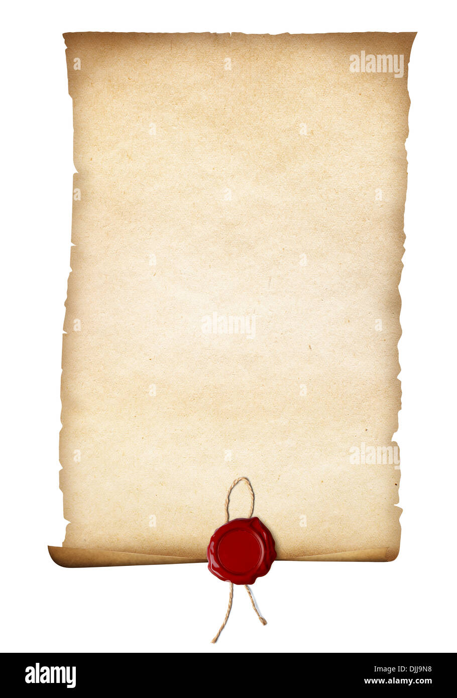 parchment or old paper with red seal isolated - Stock Image