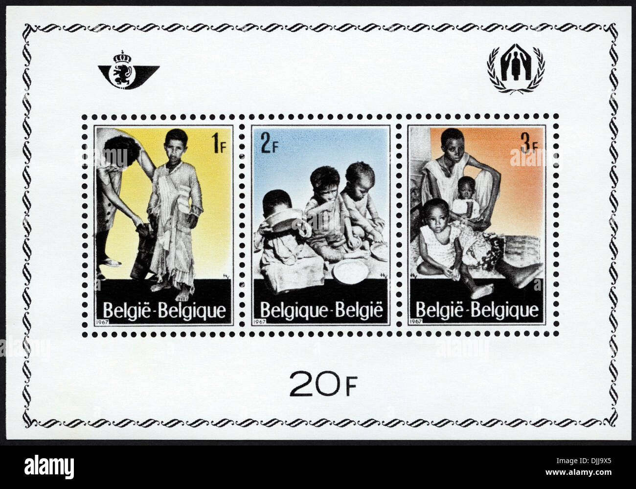 postage stamp Belgium featuring Refugees 1F 2F 3F 20F issued 1967 - Stock Image
