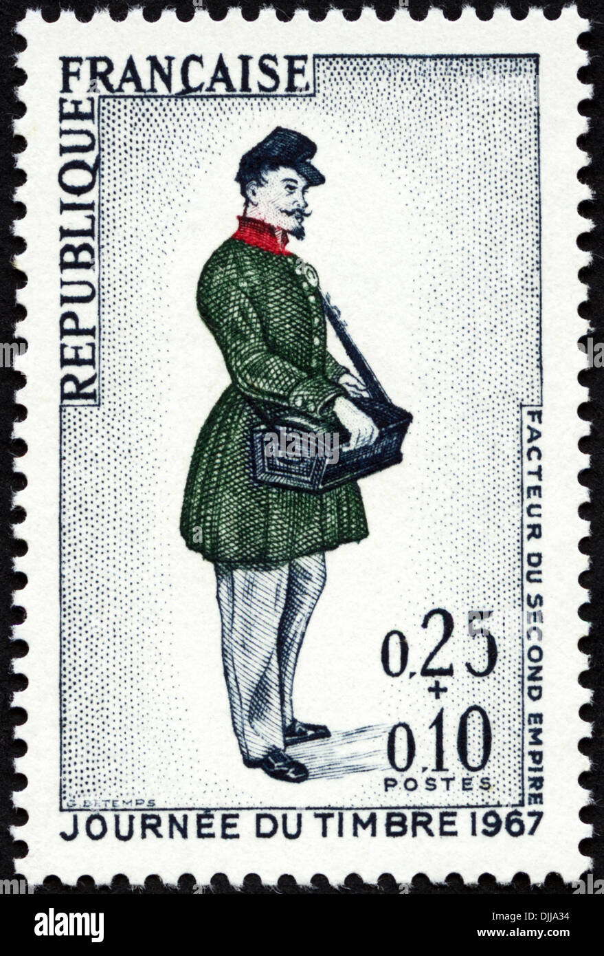 postage stamp French Republic 0,25+0,10 featuring Victorian letter carrier issued 1967 - Stock Image