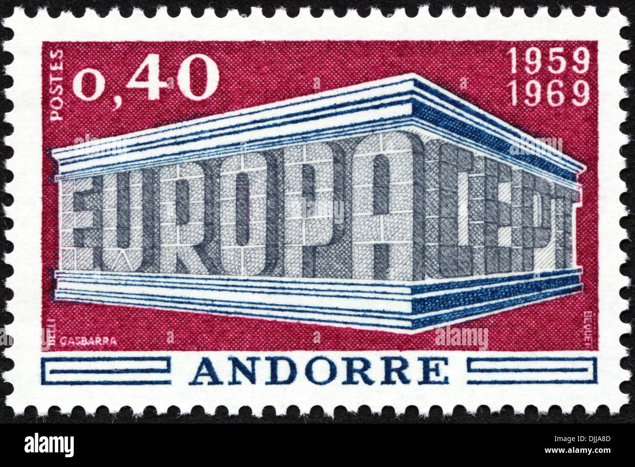 postage stamp Andorre 0,40 featuring Europa CEPT 1959 - 1969 issued 1969 - Stock Image