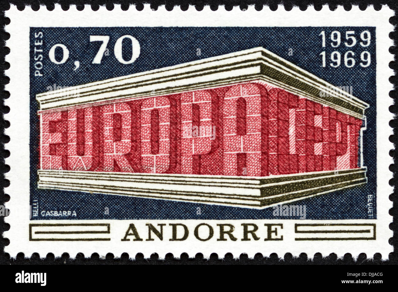 postage stamp Andorre 0.70 featuring Europa CEPT 1959 - 1969 issued 1969 - Stock Image