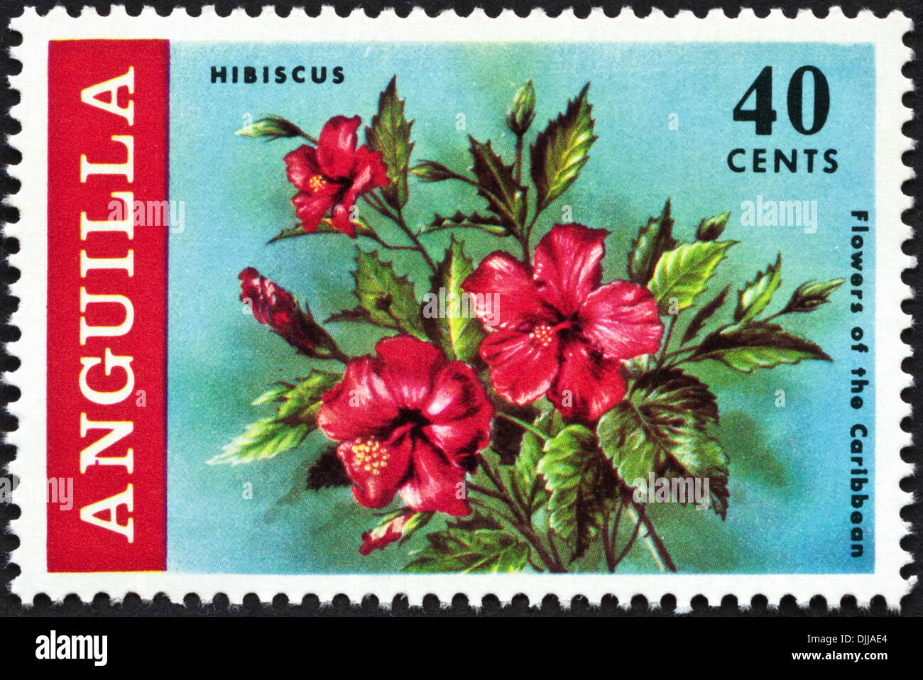 postage stamp Anguilla 40 cents featuring Flowers of the Caribbean issued 1969 - Stock Image