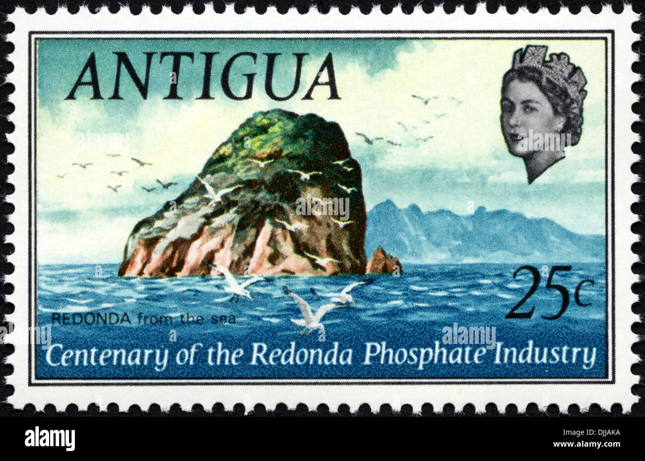 postage stamp Antigua 25c featuring Centenary of the Redonda Phosphate Industry issued 1969 - Stock Image
