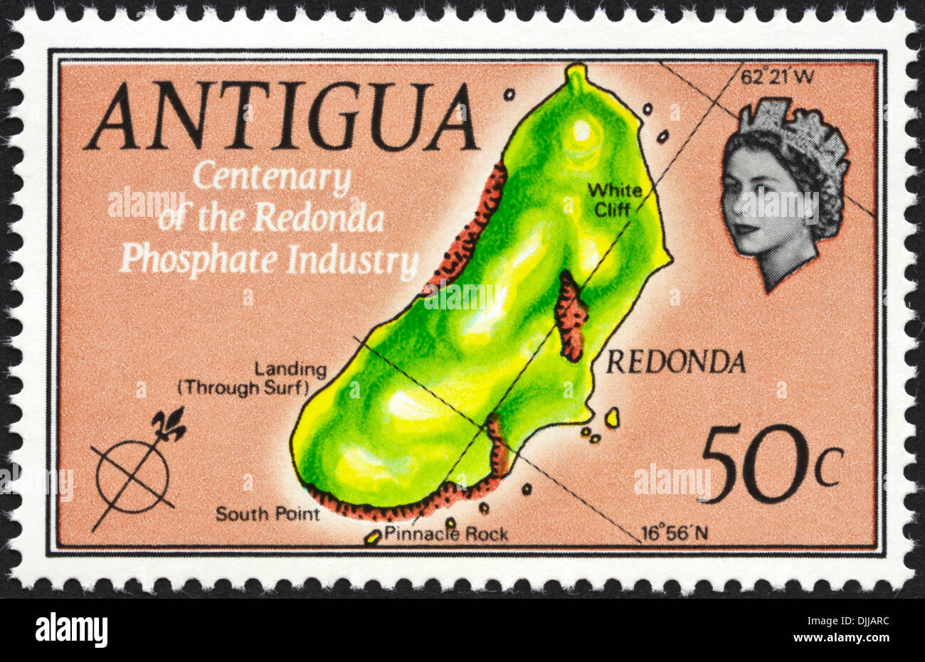 postage stamp Antigua 50c featuring Centenary of the Redonda Phosphate Industry issued 1969 - Stock Image
