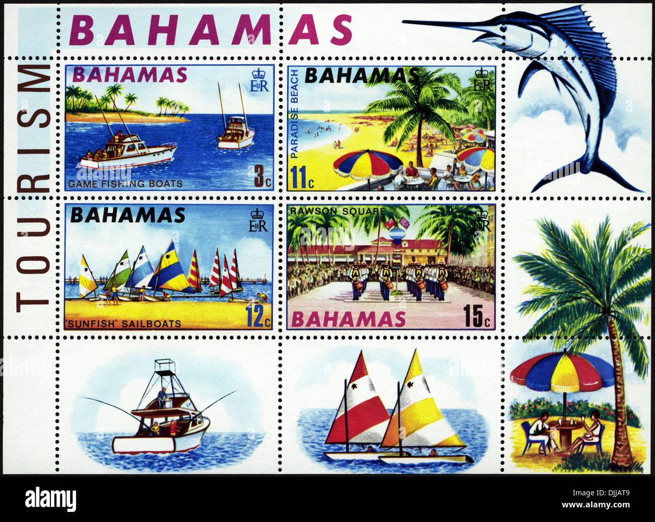 postage stamp Bahamas featuring 4 tourism souvenir stamps issued 1969 - Stock Image