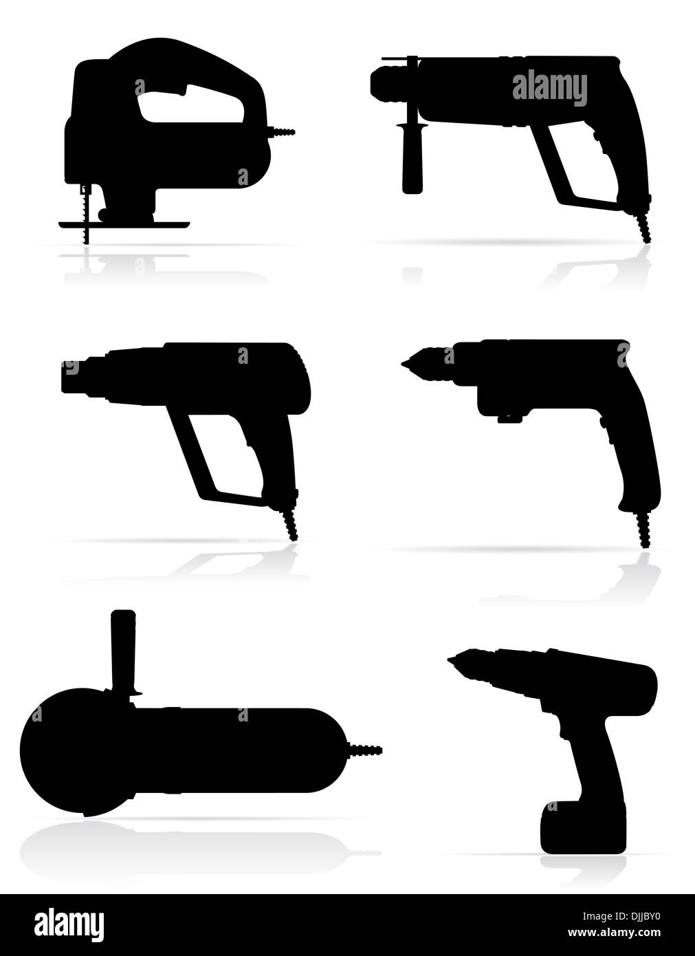 electric tools black silhouette set icons illustration isolated on white background - Stock Image