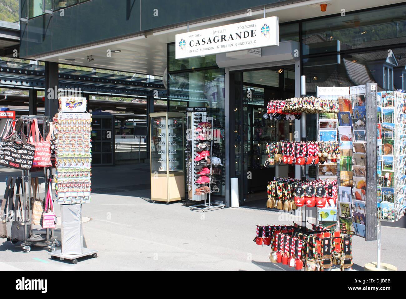 Sovereign gift shop display in Interlaken, Switzerland Stock Photo