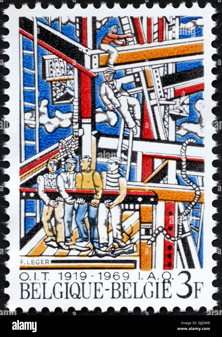 postage stamp Belgium 3F featuring 50th Anniversary of International Labour Organisation 1919 - 1969 issued 1969 - Stock Image