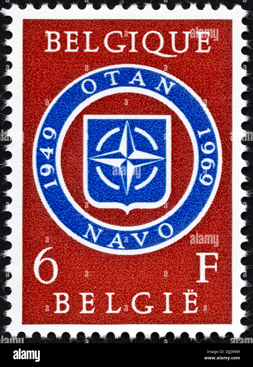 postage stamp Belgium 6F featuring 20th anniversary of NATO 1949 - 1969 issued 1969 - Stock Image