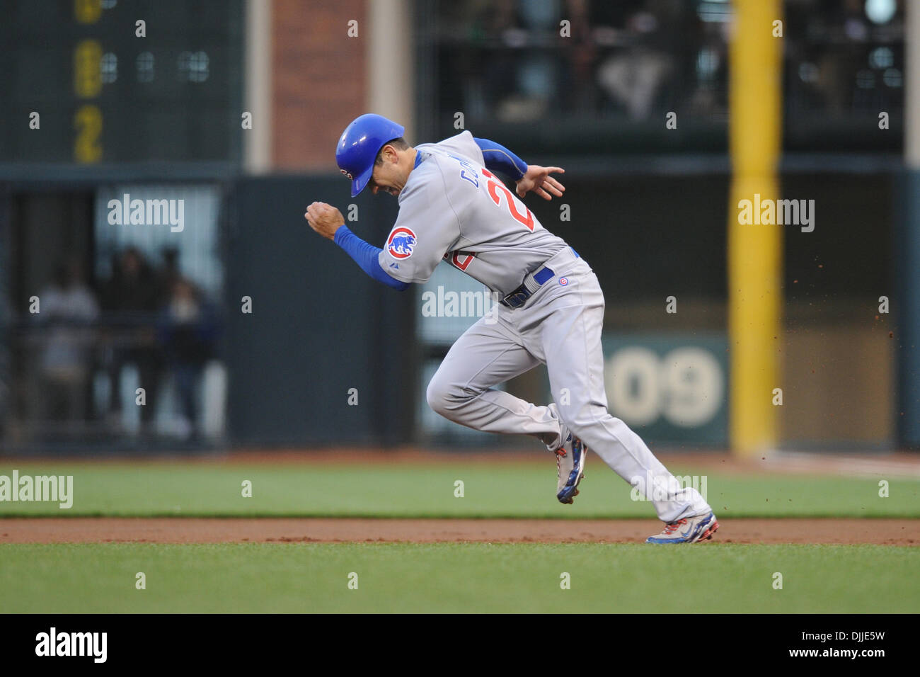 Aug. 10, 2010 - San Francisco, California, United States of America - August 8, 2010: Chicago Cubs OF Tyler Colvin (21) steals second during the first inning of the MLB game between the San Francisco Giants and the Chicago Cubs at AT&T Park in San Francisco, CA.  The visiting Cubs defeated the Giants 8-6..Mandatory Credit: Matt Cohen / Southcreek Global (Credit Image: © Southcreek  - Stock Image