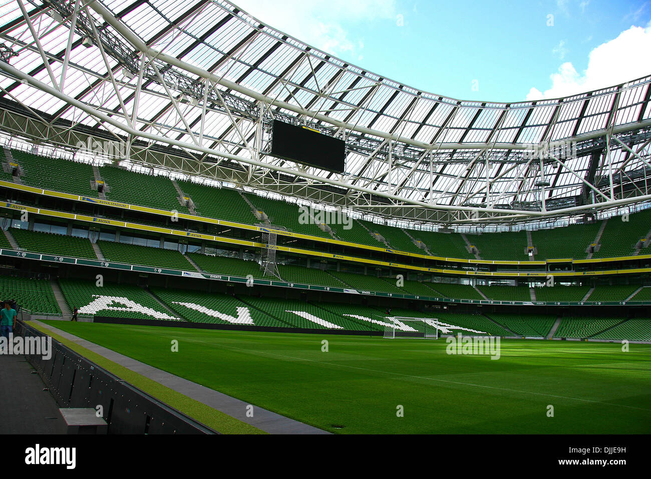 Aug. 10, 2010 - Dublin, Ireland - A general view of the newly completed Aviva Stadium in Dublin, Ireland. The stadium has an all-seater capacity of 50,000 and is home to its chief tenants: the Irish rugby union team and the Republic of Ireland national football team. The stadium is Ireland's first, and only, UEFA Elite Stadium and in 2011, it will host the Europa League Final (Cred - Stock Image