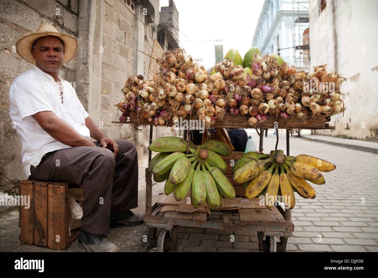 Cuba street food - A stallkeeper and his fruit stall, Brasil St, Havana, Cuba, Caribbean - Stock Image